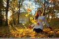 Picture autumn, leaves, girl, laughter, Miss Froggi