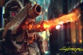 Picture weapons, the game, helmet, shoots, police, Cyberpunk 2077, cyberpunk, police, fire