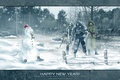 Picture snowman, weapons, snow, new year, forest, Stalker, area, Stalker