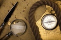 Picture rope, compass, magnifier, stiletto, map