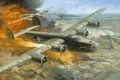 """Picture the city, the plane, fire, Romania, 1943 -- \""""Hell\'s Wench, Fire Over Ploesti by Roy ..."""