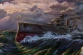Picture sea, wave, ship, gun, dreadnought