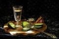 Picture glass, vodka, cucumber