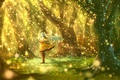 Picture girl, trees, nature, anime, art, note, vocaloid, hatsune miku, bou nin