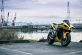 Picture Yamaha, yellow, bike, motorcycle, port, yellow, yzf-r1, cranes, river, yamaha