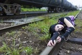 Picture railroad, girl, the situation