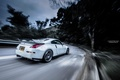Picture road, forest, tuning, speed, nissan, spoiler, 350z, road, Nissan, speed, white car, 350, the white ...
