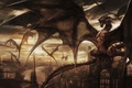 Picture castle, wings, dragons, fantasy, art, tower