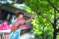 Picture style, tree, fan, girl, summer, face, dress