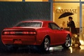 Picture challenger, red, Dodge, r t, shop, chelenzher, muscle car, Muscle car, umbrella, dodge, rain, woman