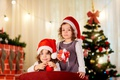 Picture children, gift, hat, tree, New year, Christmas, New Year, Gemini, gift, Holidays, children, little girls, ...