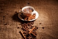 Picture sticks, couples, Cup, coffee, foam, grain, saucer, spices, cinnamon