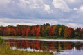 Picture the evening, autumn, the sky, trees, river, clouds