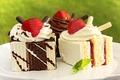 Picture cakes, dessert, sweet, glaze, tube, cream, food, jam, strawberry