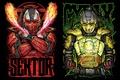 Picture Mortal Kombat, art, Cyrax, Sector, cyborgs, fiction, fighters, robots