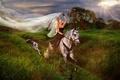 Picture dog, rider, horse, girl, Greyhound, veil