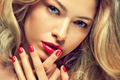 Picture look, Face, Glance, Red, Girls, girl, Eyes, Manicure, lips, eyes