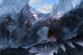 Picture bridge, snow, art, cold, people, rider, temple, cloaks, rocks