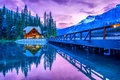 Picture lake, house, bridge, mountains, trees, river