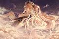 Picture hatsune miku, art, tangjinhang, girl, the sky, tears, thread, vocaloid, clouds