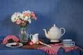 Picture kettle, flowers, Cup, blueberries, bouquet, berries, still life, knife, strawberry, clove