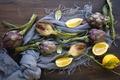 Picture lemon, artichoke, scarf