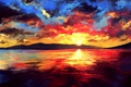 Picture art, sunset, the sun, mountains, They want, sea