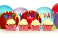 Picture candles, cupcake, balls, cupcakes, Happy Birthday, Birthday