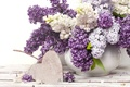 Picture heart, vase, lilac