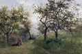 Picture picture, nature, trees, Carlos de Haes, girl, Apple trees in Normandy, grass, landscape