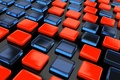 Picture pads, squares, black background, blue, red