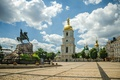 Picture the sky, clouds, trees, monument, Ukraine, Kiev, the bell tower, Sofia square, Saint Sophia Cathedral, ...