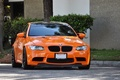 Picture orange.BMW, road, trees, the bushes, bmw, e92, street, the curb, the front, orange