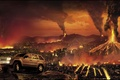Picture jeep, grand cherokee, Apocalypse, car, the city, volcanoes, jeep, destruction, building, fire