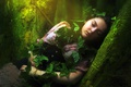Picture ivy, sleep, trees, forest, girl, dress