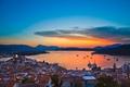 Picture church, city, homes, lights, buildings, Santorini, Oia, Greece, Aegean Sea, evening, dome