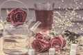 Picture kettle, style, flowers, gypsophila, still life, sugar, roses