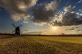 Picture mill, the sun, clouds, field, clouds
