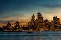 Picture sea, Australia, Opera house, Sydney, horizon, sunset