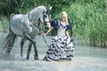 Picture water, girl, mood, horse, dress, reed, walk