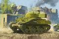 Picture war, art, painting, tank, ww2, Sherman Firefly