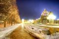 Picture lights, night, snow, Night, Boston, trees