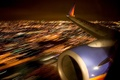Picture night, lights, the plane, wing