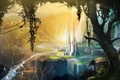 Picture art, waterfall, valley, trees, Pesa, birds, tower, view, fantasy world, river, open