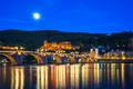 Picture city, lights, bridge, Germany, night, castle, reflection, blue hour, Heidelberg, Old Bridge, Neckar River, The ...