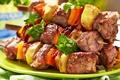 Picture vegetables, meat, vegetables, skewers, meat, kebab