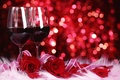 Picture flowers, roses, bokeh, glasses, red, wine, red