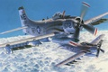 Picture war, art, airplane, painting, aviation, Douglas A-1 Skyraider