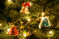 Picture garland, branch, holiday, bell, tape, pine, bow, needles