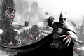 Picture batman, the airship, the city, fist, Gotham, blood, Batman, arkham city